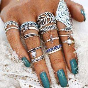 NWOT 16 Piece Silver Ring Set